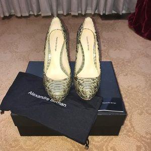 Shoes - Alexandre Birman authentic python olive pumps